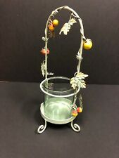 "Pfaltzgraff Jamberry Candle Holder, 15"" Tall, Glass Hurricane Jar, Metal, Fruit"