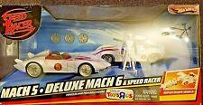 Hot Wheels Mach 5 Deluxe 6 & Speed Racer Action Figure 2007 Tv Cartoon V Vi Toy