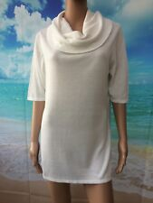 Ladies Ivory smooth knit loose cowl neck jumper size M UK 14/16 RRP £22