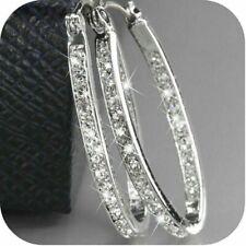 Women's 9K Gold Filled Silver CZ Crystal Big Hoop Huggie Earrings Jewelry Gifts