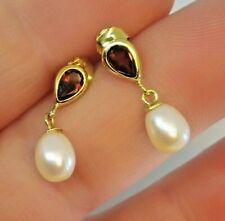 9ct Gold Garnet & Cultured Pearl Earrings