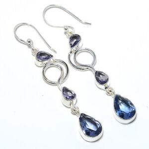 "Iolite Gemstone 925 Sterling Silver Handmade Earring Jewelry 2.54"" T3081"