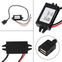 12V/24V to USB 5V 3A Converter Regulator Cable Wires Step Down Voltage Module US