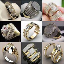 Women Men's Jewelry 18K Yellow Gold Filled White Sapphire Ring Wedding Size 6-14