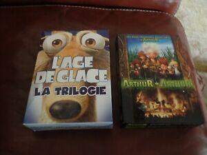 LOT 2 COFFRETS DVD L'AGE DE GLACE 1 A 3 + ARTHUR ET LES MINIMOYS 1 + 2