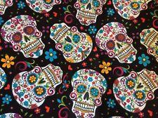 """Cotton Fabric Dia De Los Muertos Calaveras Sugar Skulls 44"""" w, sold BTY"""