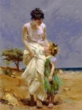 "Pino Giclee on Canvas S/# ""Joyful Memories""  COA 38x29 beach mother daughter"
