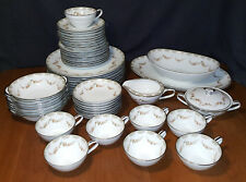 Noritake Denise 5508 52 Piece China Set Service for 8 Gray Scrolls Brown Flowers