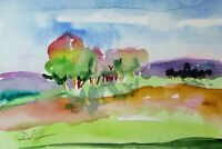 Scenic landscape trees 6x9 collectible watercolor painting art Delilah