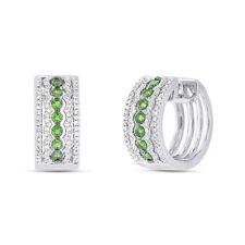 1.13 tcw 14K White Gold Diamond Green Tsavorite Garnet Gemstone Huggie Earrings