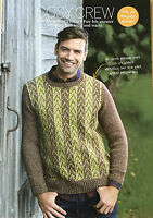 KNITTING PATTERN Mens Fair Isle Patterned Sweater Crew Neck Jumper Sublime KNIT