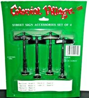 VILLAGE STREET SIGN ACCESSORIES SET OF 4 LEFTON EXCLUSIVES NEW IN BOX VINTAGE