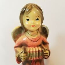 Angel Figurine Pink Paper Mache Christmas Japan Vintage Mid Century -Q