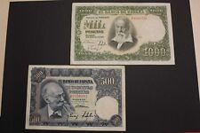 SPAIN 1951 500+ 1000 PESETAS LOTE 2 BANKNOTES BILLETES PICK#142a,143a VF/VF+