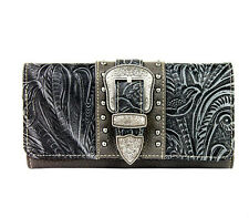 Montana West® Floral Tooled Leather, Western Wristlet Wallet- Gray