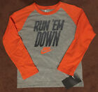"NIKE Boy's ""RUN 'EM DOWN"" Long Raglan Sleeve T-Shirt  GREY HEATHER/ORANGE  NWT"