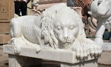 Exclusive Marble Lion Statue Handmade Art Home Showpiece Outdoor Decor E1104