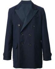 $1595 HARDY AMIES men BLUE WOOL SEERSUCKER REVERSIBLE JACKET OVERCOAT COAT L