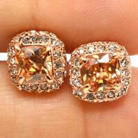 Shinning Yellow Citrine Diamond Halo Stud Earring Women Jewelry 14K Rose Gold