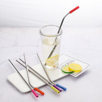 4Pcs Stainless Steel Straight Bend Straw Reusable With Silicone Tips Clean Brush
