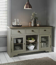 Sideboard Canterbury in Silk Grey and Dark Pine Cupboard Buffet 3 Drawer