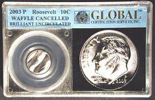 ROOSEVELT 10c DIME MINT CANCELED ERROR COIN IN A GLOBAL CERTIFICATION HOLDER