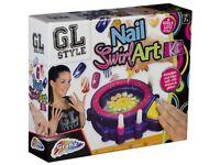 Girls Nail Art Swirl Machine Kit Glitter & Polish Spa Paint Manicure Set 16-6158