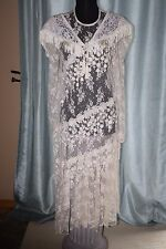 Antique Vintage Ivory Lace Asymmetrical Drop Waist+White Lace Shawl Sz 8/10 c3