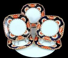 """ROYAL ALBERT HARD TO FIND 5 PIECE IMARI POPPY SQUARE 6"""" BREAD & BUTTER PLATES"""