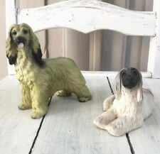 Afghan Hound Puppy Dog Figurines Collectibles Set of 2 Lot Blonde & Black