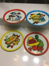 "Lot 4 Vintage 10 1/2"" Tin/Metal Trays Bbq/Picnic Themed Mint Condition Burger"