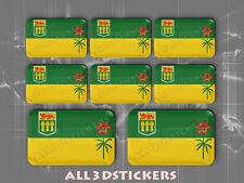 8 x 3D Stickers Resin Domed Flag Saskatchewan - Adhesive Decal Vinyl