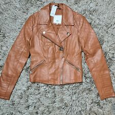 River Island Brown Tan Real Leather Biker Jacket Size 8