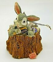 1990s Resin Rabbit in Tree Stump with Bubble Christmas Ornament Garden Gifts
