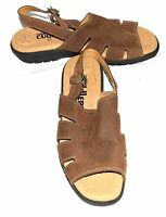 Cobble Cuddlers Brown Leather Womens Slingback Sandals w/ Buckle Strap Sz 8.5 M