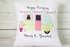 "Personalised duckegg caravan - 16"" cushion cover shabby vintage chic/camping"