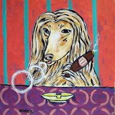 6x6 Afghan Hound at the cigar bar dog art tile tiles coaster gift coasters dogs