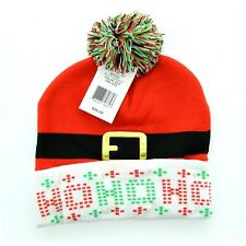 Christmas Ho Ho Ho LED Light Up Novelty Pom Pom Toboggan Hat Cap Beanie