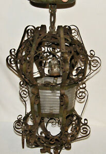 "Antique WROUGHT IRON Hanging CEILING LIGHT W/ Original RIBBED GLASS 18"" Long"