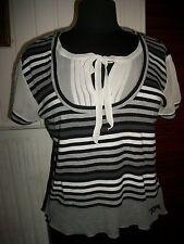 Pull manche courte coton/modal gris rayé blanc/noir chemise soie CAROLL 42 logo