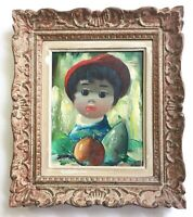 Nino GIUFFRIDA (b.1924) Impressionist oil painting Portrait Boy ORIGINAL Signed