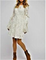 Anthropologie Free People Rubi Lace Ivory Mini Dress M NWT
