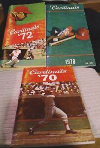 ST. LOUIS CARDINALS PRESS MEDIA GUIDE LOT 1970 1972 1978 RED SCHOENDIENST TORRE