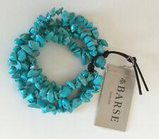Barse Genuine Turquoise Magnesite Chip Stone Four Strand Leather Bracelet