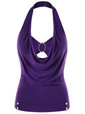 Plus Size Women Sexy Tank Tops T-Shirt Ruffles Vests Blouse Halter Neck Tees HOT