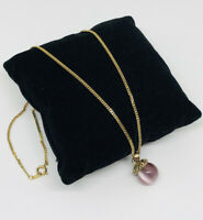 Vintage Necklace Gold Tone Chain Pink Tiger's Eye Glass Pendant Pretty Kitsch