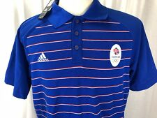 Adidas Team GB Polo Shirt Great Britain Blue Olympics England Size Large New