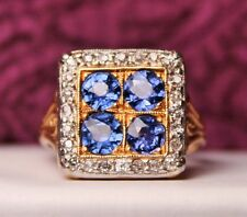 Vintage ANTIQUE Old Sapphire & Diamond 14K Gold Victorian Ring Sz 4.75 ORNATE
