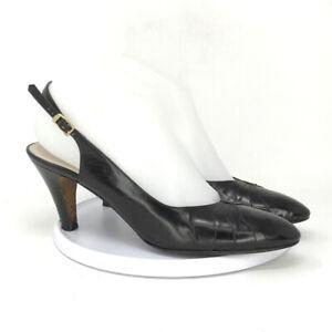 "Salvatore Ferragamo Women's Black Slingback Leather Pumps Size 8.5 Heels 2.5"""