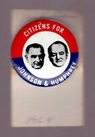 LBJ Johnson - Humphrey '64 campaign (1968 Kleenex) vintage pin-back button